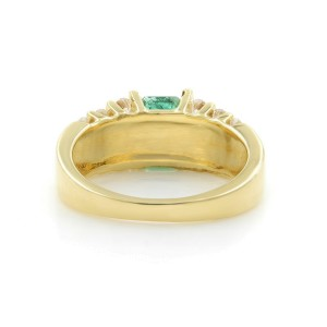 Rachel Koen 14K Yellow Gold Genuine Emerald 1.00cttw Diamond Ring Size 6