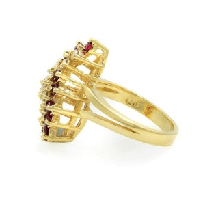 Rachel Koen 14K Yellow Gold Ruby 0.80cttw Diamond Ring Size 6