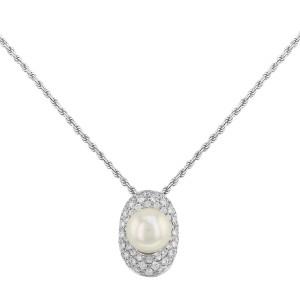 Salvini 18k White Gold & 0.65 Cttw Diamonds & Pearl Pendant Ladies Necklace