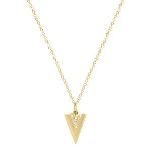 14K Yellow Gold Pave Diamond 0.03cttw Double Triangle Pendant 18 Inch Necklace