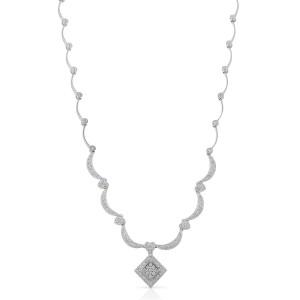 Rachel Koen Ladies Diamond Wedding Necklace in 14K White Gold (2.50cts)