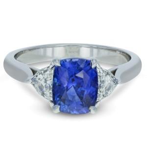Sri Lanka Blue Sapphire And Diamond Engagement Ring 3.34cttw 18K White Gold GIA