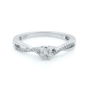 Rachel Koen 14K Gold Round Cut Diamond Accented Ladies Engagement Ring 0.25 Cttw