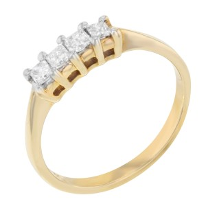 14K Yellow Gold Princess Cut Diamond Anniversary Wedding Eternity Ladies Ring 7