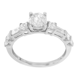 14K White Gold Diamond Accented Womens Engagement Ring 1.40 Cttw Size 7.25
