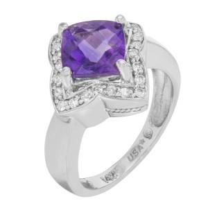 Rachel Koen 14K White Gold Amethyst Diamond Womens Cocktail Ring Size 7