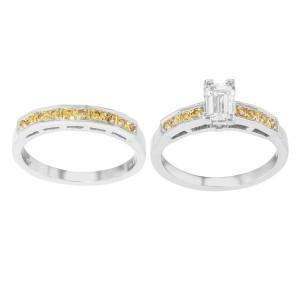 Rachel Koen Platinum Yellow Diamond 2PC Womens Engagement Ring Set 2.31Cttw