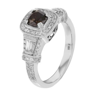 14K White Gold Brown Diamond Accented Ladies Engagement Ring 1.84 Cttw
