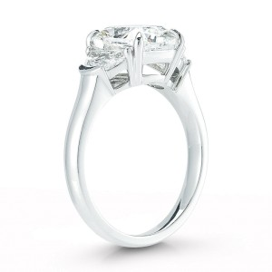 Three Stone Cushion Cut Half Moon Diamond Engagement Platinum Ring 4.12cts