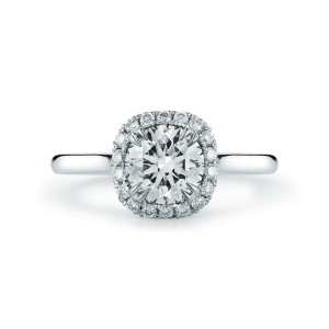 Round Diamond Halo Engagement Ring in Platinum 0.82cts F VS1 GIA