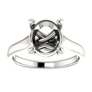 Rachel Koen Platinum Cathedral Oval Cut Engagement Ring Mounting Size 6.5