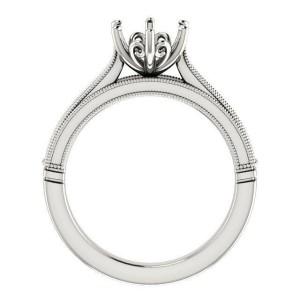 Rachel Koen 14K Gold Art Deco Round Cut Solitaire Engagement Ring Mounting 6.5