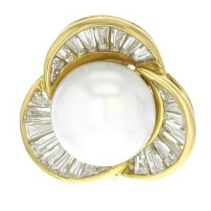 Damiani 18k Yellow Gold 48 Diamonds & Pearl Huggie Ladies Earrings