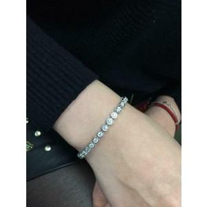 Rachel Koen Bezel Set Diamond 3.55 cttw Bracelet 14K White One Size Fits Most