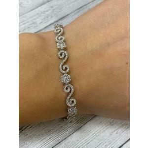 Rachel Koen 18K White Gold Diamond Flower Cluster Tennis Bracelet 2.38cts