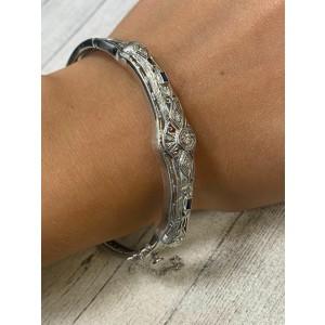 14K White Gold 0.15 Cttw Diamods & 0.05 Blue Sapphires Filigree Ladies Bracelet
