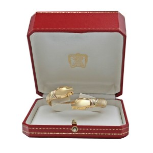 Cartier 18K Tri-color Gold Double Head Panther Bypass Bracelet