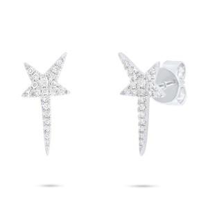 14K White Gold Pave Diamond Star Stud Earrings 0.13cttw