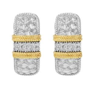 14k White & Yellow Gold appx. 0.03 Cttw Round Cut Diamonds Ladies Huggi Earrings