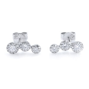Rachel Koen 14K White Gold Diamond Stud Earring 0.36cttw