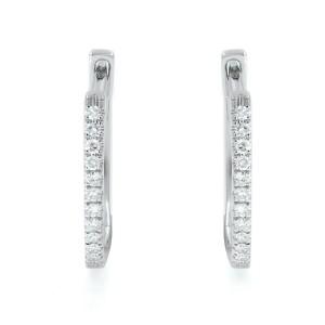 Rachel Koen 14K White Gold Diamond 0.08cttw Huggie Earring 0.08cts