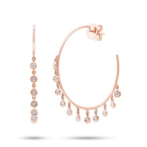 Rachel Koen 14K Rose Gold Diamond Shaker Hoop Earring 0.65Ct