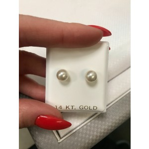 Rachel Koen 14K Yellow Gold Natural Pearl Stud Earrings 6.5mm
