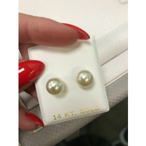 Rachel Koen 14K Yellow Gold Natural Pearl Stud Earrings 8.5mm