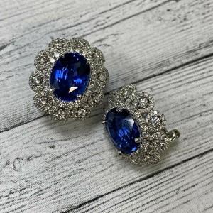 Rachel Koen 18K White Gold Blue Oval Sapphire & Diamond Huggie Earrings