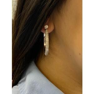 Rachel Koen 18K White Gold Diamond Hoop Earrings 37mm 6.39cts