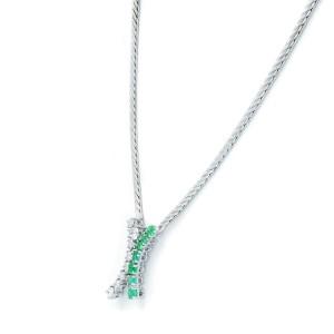 Rachel Koen 14K White Gold Emerald Diamond 0.2cttw Necklace