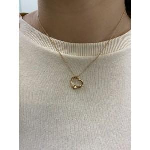 Tiffany & Co 18K Rose Gold Elsa Peretti Open Heart Pendant 0.02cts