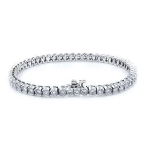 Rachel Koen 18K White Gold Bezel Set Round Diamond Bracelet 4.93cts