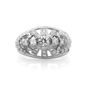 Vintage 14K White Gold Diamond Cocktail Ring 0.36cts Size 7