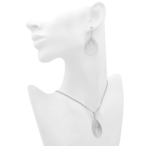18K White Gold Diamond Bridal Necklace and Earrings Jewelry Set 4.00cttw