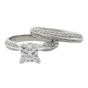 Rachel Koen 14K White Gold Diamond Princess Cut Bridal Ring Set 1.33ct SZ 6