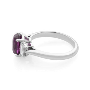 18K White Gold Oval Pink Sapphire and Diamond Three Stone Engagement Ring 2.61ct