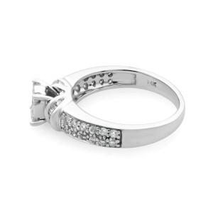 Rachel Koen 14K White Gold Diamond Engagement Ring 0.55cts Size 6