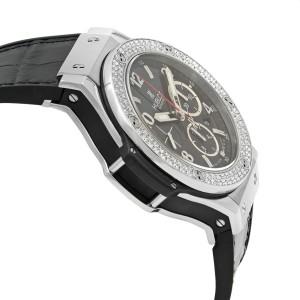 Hublot Big Bang Steel Diamond Bezel Black Dial Mens Watches 301.SX.130.RX.114