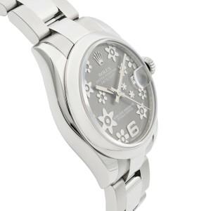 Rolex Datejust 31 Steel Floral Rhodium Dial Automatic Ladies Watch 178240RFO