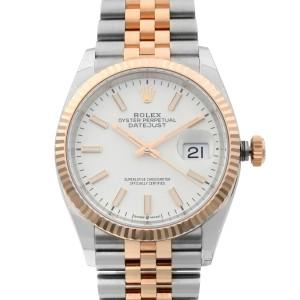 Rolex Datejust 36mm Steel 18k Everose Gold White Dial Automatic Men Watch 126231