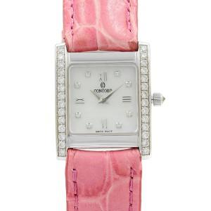 Concord MCS 14k White Gold 20mm White MOP Diamond Quartz Ladies Watch