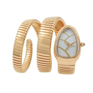 Bulgari 18K Rose Gold Serpenti Diamond Triple Wrap Ladies Watch  SPP35G