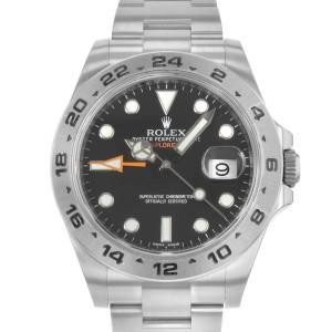 Rolex Explorer II 216570 BKSO Black Dial GMT Steel Automatic Mens Watch