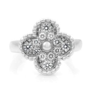 Van Cleef & Arples 18K White Gold Vintage Alhambra Diamond Ring Size 5.25