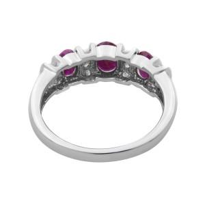 Rachel Koen 14K White Gold Ruby 0.75cttw Diamond 0.17cttw Cocktail Ring SZ7