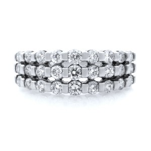 Rachel Koen 14K White Gold Three Row Diamond Wedding Band 1.50ct.t.w. SZ9.5