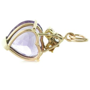 Rachel Koen Heart Amethyst 14K Yellow Gold Ladies Pendant