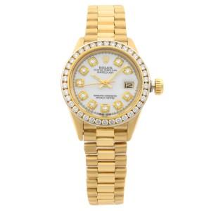 Rolex Datejust 26mm Aftermarket Diamond Bezel Yellow Gold Ladies Watch 6917