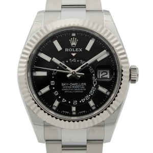 Rolex Sky-Dweller Gold Steel Black Dial Oyster Band Automatic Mens Watch 326934